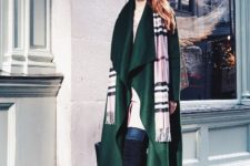With long shirt, jeans, over the knee boots and plaid scarf
