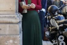 With marsala shirt, green pleated skirt and black shoes