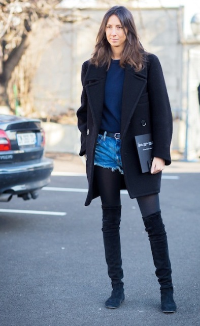 With navy blue sweater, coat and suede over the knee boots