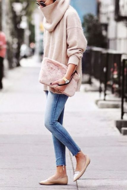 With oversized turtleneck sweater, crop jeans and flats