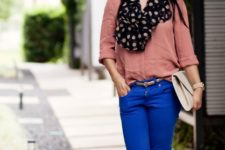 With pale pink blouse, blue pants, beige shoes and clutch