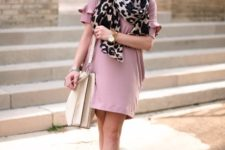 With pale pink dress, gray suede boots and white bag