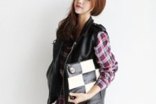With plaid dress and printed clutch