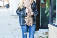 With plaid oversized shirt, cuffed jeans and suede boots