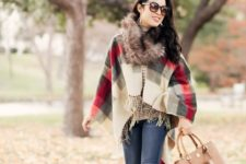 plaid scarf outfit with some fur accents