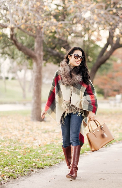 With plaid scarf, jeans, brown high boots and camel bag