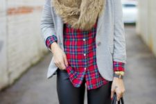 cute plaid shirt look for winter
