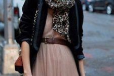 With pleated dress, black blazer and chain strap bag