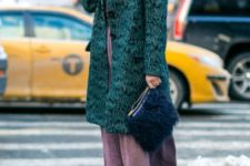 With printed coat, maxi dress and high heels