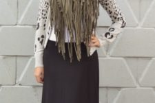 With printed shirt and maxi skirt