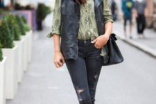 With printed shirt, distressed jeans, flats and black bag