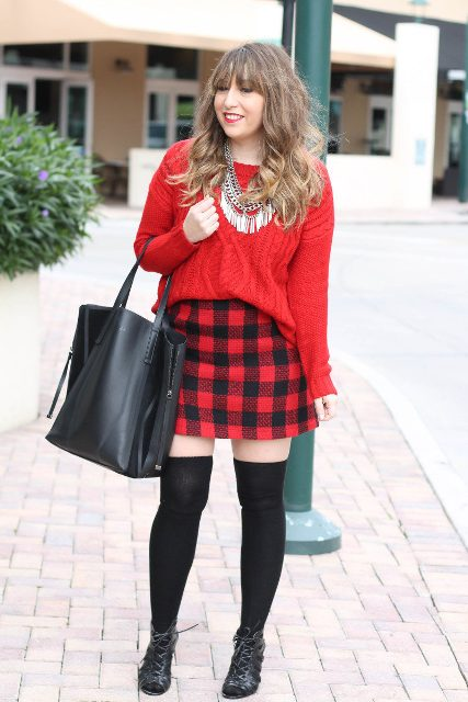 With red sweater, shoes and tote