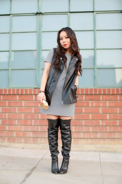 With striped dress and over the knee boots