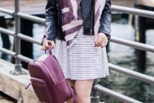 With striped dress, gray cutout boots, marsala backpack and leather jacket