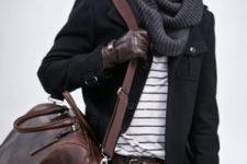With striped shirt, jacket, brown big bag and trousers
