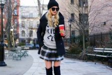 stylish winter look with a beanie