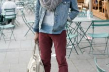 With t-shirt, marsala pants, denim jacket, brown shoes and white bag