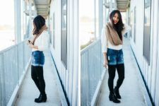 With white blouse, knitted scarf, ankle boots and black tights
