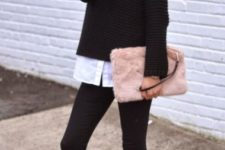 With white button down shirt, black sweater, black skinny pants and black flats