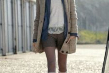 With white shirt, blue cardigan, gray cardigan and high boots