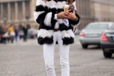 winter look with a clutch