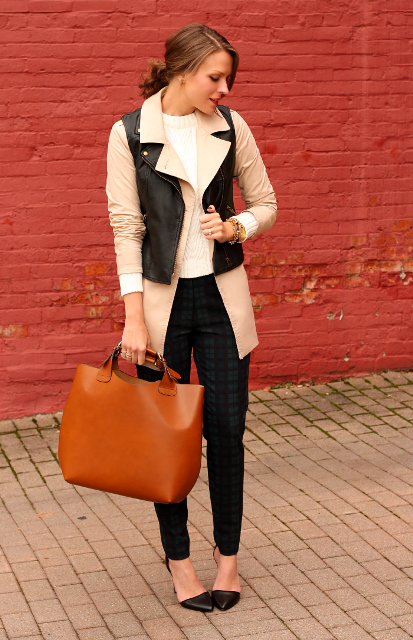 With white sweater, beige coat, black trousers, pumps and brown tote