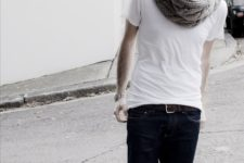 With white t-shirt and jeans