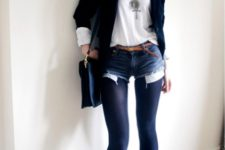 With white t-shirt, navy blue jacket, navy blue tights and purple boots