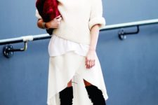 With white turtleneck sweater, white skirt and black suede over the knee boots