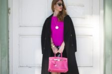 02 a black knee skirt, a hot pink top and shoes, a pink bag, a black coat