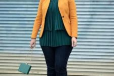 02 a colorful look with navy skinnies, a dark green pleated layered top, a yellow jacket and a bag