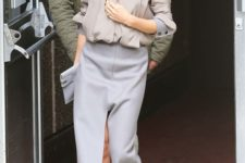 02 a taupe blouse, a grey pencil skirt with a front slit, creamy shoes and a grey clutch