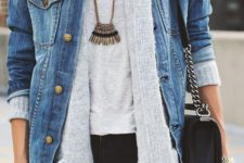03 a grey tee, a grey cardigan, a denim jacket over it and a statement necklace