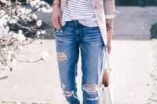 03 a striped shirt, a blush blazer, ripped jeans, blush strappy flats