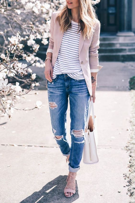 a striped shirt, a blush blazer, ripped jeans, blush strappy flats
