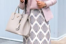 03 a wrap pink top, a pink jacket, a printed skirt and a light grey bag for a chic and girlish outfit