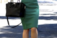 03 an emerald knee dress, a black bag and nude shoes