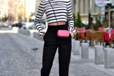 03 black high waisted pants, a striped shirt, black and nude shoes and a small pink bag