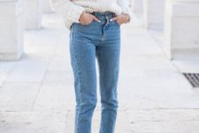03 blue denim, a white chunky knit sweater and plum-colored sock boots
