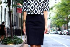 04 a black over the knee skirt, a printed top wit shirt sleeves, black and gold shoes for a retro feel