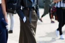 04 black ankle strap shoes, a brown midi skirt with buttons, a blue shirt and a cropped blakc leather jacket