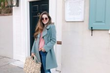 04 ripped denim, a pink sweater, pink flats, a green trench for a stylish pastel-inspired look