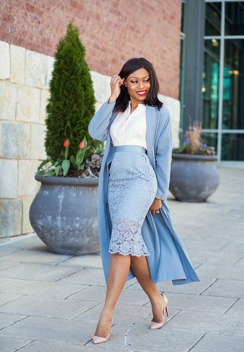 a powder blue pencil lace skirt, a white shirt, a long blue cardigan and nude heels can be worn to work