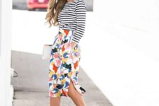 05 a striped top, a floral midi pencil skirt with a side slit and black strappy heels