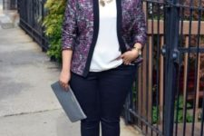 05 black skinnies, a white top, a bold printed jacket with black lapels and heels