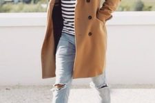 05 distressed jeans, white trainers, a striped t-shirt and a camel coat
