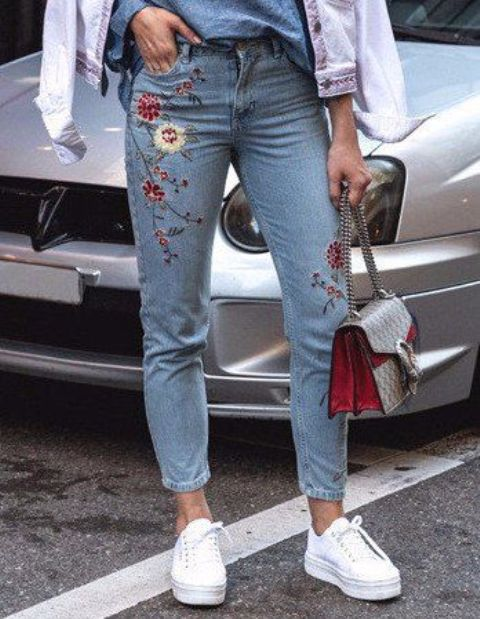 such floral embroidery on jeans isn't edgy now, it's time to look for another pair