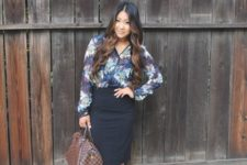 06 a black pencil skirt, a bold floral blouse, black ankle strap shoes and a brown bag