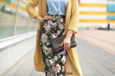 06 a blue shirt, a yellow long cardigan, a floral print midi pencil skirt, powder blue heels and a clutch