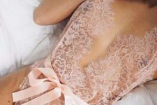 06 a blush lace romper with a silk sash is a gorgeous idea for a special occasion
